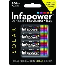 INFAPOWER AA 800MAH NI-MH Solar Light Replacement Batteries, 4-Pack (B008)