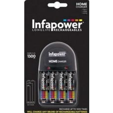 INFAPOWER Home Charger + AA 1300MAH NI-MH Rechargeable Batteries, 4-Pack (C001)