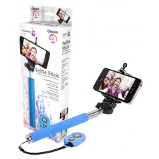 iTek Universal Selfie-Stick Blue with Bluetooth Shutter Remote (Model I72002BL)