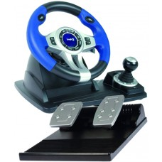 GamePower Blue Steering Wheel and Pedals (PC / PS2 / PS3)