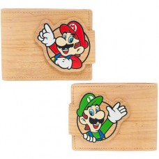 Nintendo Super Mario Bros. Mario and Luigi with Pop-lock Clip Unisex Bi-Fold Wallet, One Size, Sandy/Woodgrain (MW1734SMB)