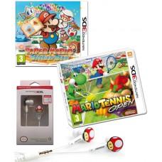 Mario Tennis Open and Paper Mario Sticker Star 3DS Games + Mushroom Earphones