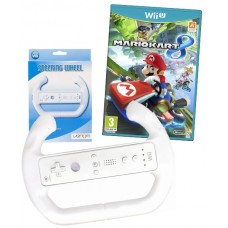 Mario Kart 8 Nintendo Wii U and Steering Wheel White Wii / Wii U