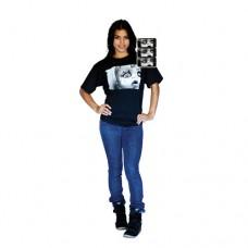 Digital Dudz Adult Unisex Creepy Doll Face Digital T-Shirt L Black DDTCDFL-L