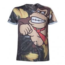 Nintendo Super Mario Bros. Adult Male Donkey Kong All-Over Sublimation T-Shirt, Large, Multi-Colour (Model No. TS877041NTN-L)
