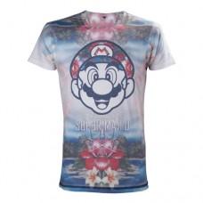 Nintendo Super Mario Bros. Adult Male Tropical Mario All-Over Sublimation T-Shirt, Large, Multi-Colour (Model No. TS221304NTN-L)