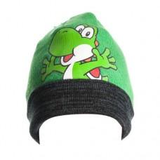 Super Mario Bros Yoshi Folded Brim Beanie One Size Green/Black Model. KC08LXSMB