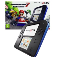 Nintendo Handheld ConsoleBlack/Blue 2DS + Pre-installed Mario Kart 7 3DS Bundle
