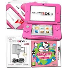 Nintendo 3DS XL Pink Console + Around World Hello Kitty + Power Adaptor Bundle