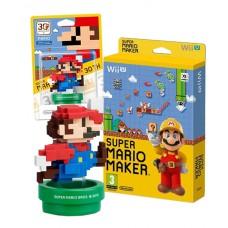 Super Mario Maker Wii U Game + Amiibo Mario Modern 8 Bit Mario Bundle