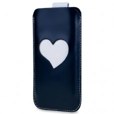 SOX Heart Me Light Genuine Leather Mobile Phone Pouch for iPhone/Samsung and more, Large, Marine (KHAM 02 L)