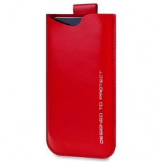 SOX Wavy Light Genuine Leather Mobile Phone Pouch for iPhone/Samsung and more, Large, Red (SOX KWVY 02 L)