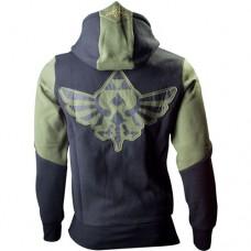 NINTENDO LEGEND OF ZELDA Mens Link Small Hoodie with Full Length Zip, Green/Black (HD989787NTN-S)