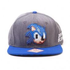 SEGA Sonic The Hedgehog 2D Pixelated Head Snapback Baseball Cap, Grey/Blue (SB0FNRSEG)