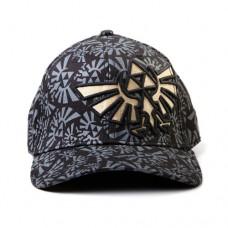 NINTENDO LEGEND OF ZELDA Golden Link Symbol Flex Baseball Cap with Grey Logo All-over Pattern, Black/Grey (BK143310NTN)