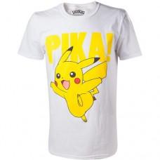 Pokemon Pikachu Pika Raised Print Mens T-Shirt Large White Model. TS408066POK-L