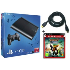 Sony PS3 12GB Console + HDMI Cable + Ratchet & Clank Tools of Destruction Bundle