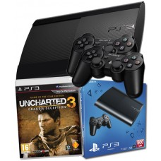 PS3 500GB Console + 2 Dual Shock Controllers + Uncharted 3 of the Year PS3 Bundl