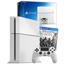 PS4 White Console + Assassin's Creed Unity PS4 Game