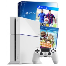 PS4 Console White + FIFA 15 and LittleBigPlanet PS4 Games Bundle