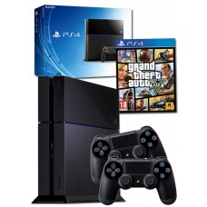 PS4 Black Console + GTA V + 2 PS4 Dualshock + 90 Days Sony Subscription Bundle