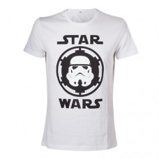 Star Wars Adult Male Stormtrooper Helmet Emblem T-Shirt, Small, White (Model No. TS080701STW-S)