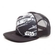 Star Wars Millennium Falcon Trucker Snapback Baseball Cap, One Size, White/Black (Model No. SB150929STW)