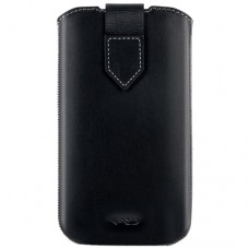 VICIOUS AND DIVINE Superior Leather Soft Pouch for Samsung Galaxy SIII/S4 and Others, Extra Large, Black (VAD-S100-4800-XL-BK)