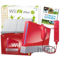 Nintendo Wii Console Red and Wii Fit Plus With Balance Board Bundle (Nintendo)