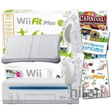 Wii Family Console, Wii Fit Plus with 118s and 4 Controllers