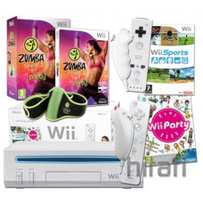 Nintendo Wii Console Zumba Fitness Bundle with Belt  and 4 Controllers
